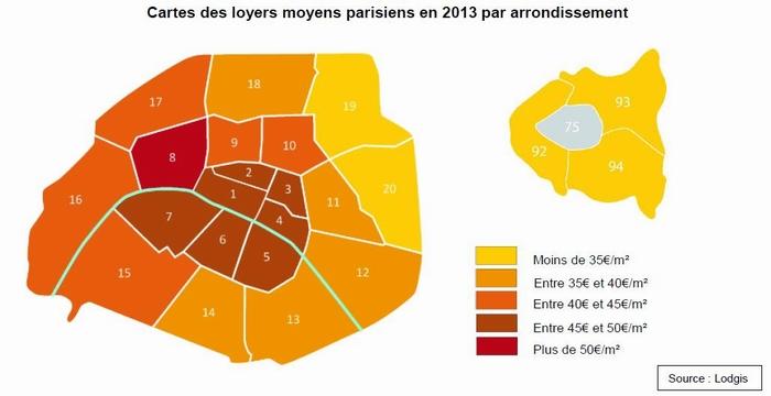 Carte des loyers location meublée à Paris - Baromètre Lodgis 2013